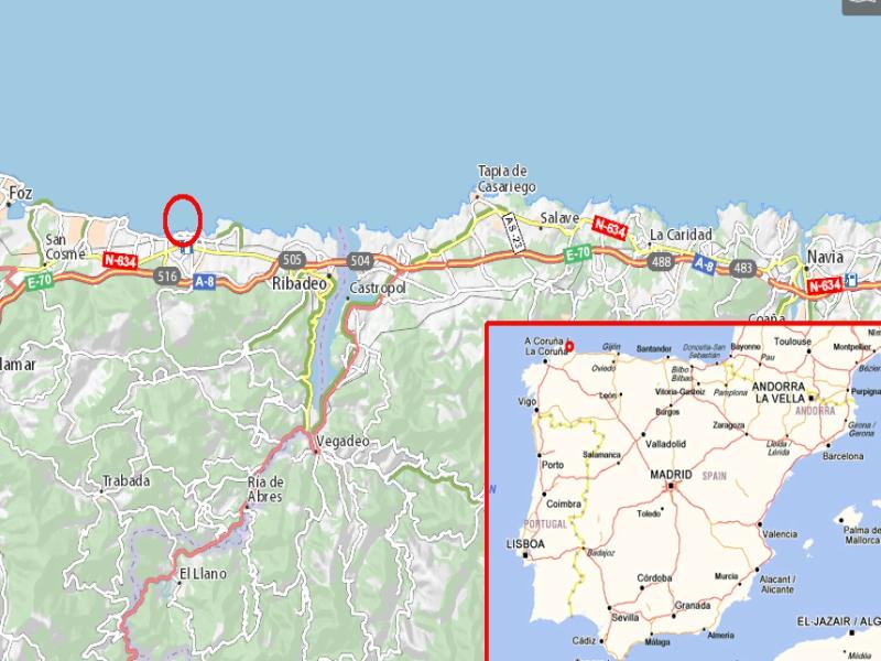 Mapa playa de las catedrales Lugo Galicia