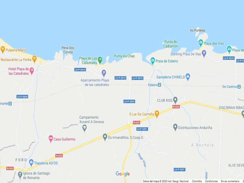 Mapa playa de las catedrales lugo google maps