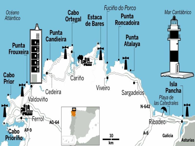 Mapa playa de las catedrales lugo Faros