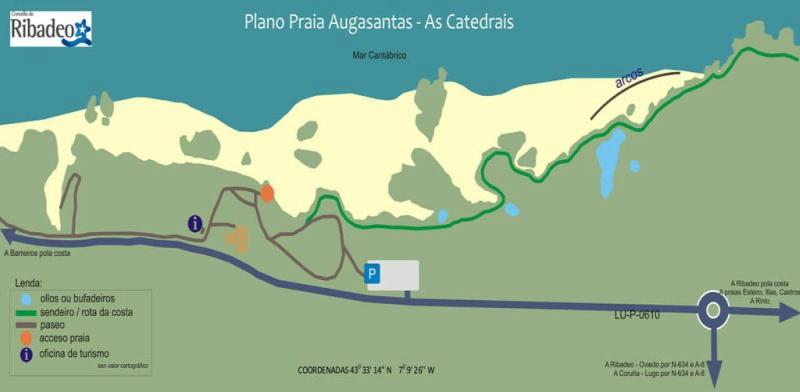 Mapa playa de las catedrales lugo plano