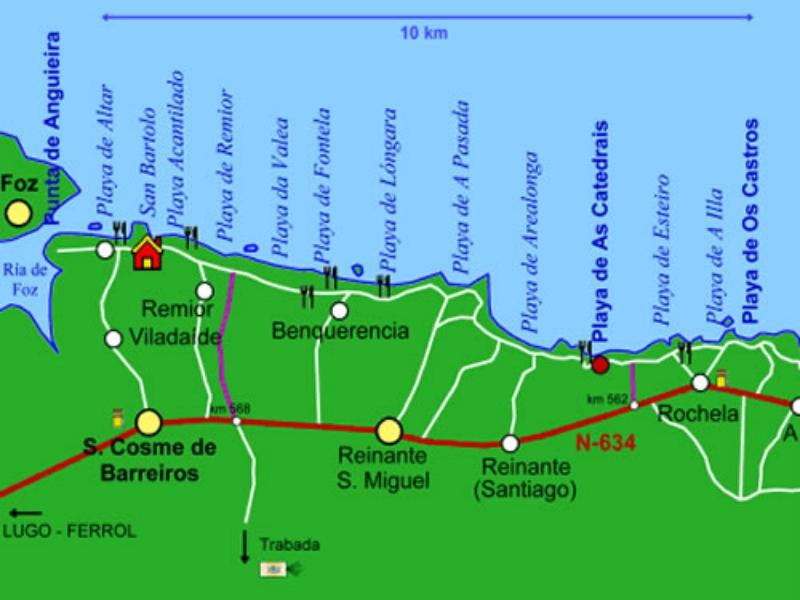 Mapa playa de las catedrales lugo playas