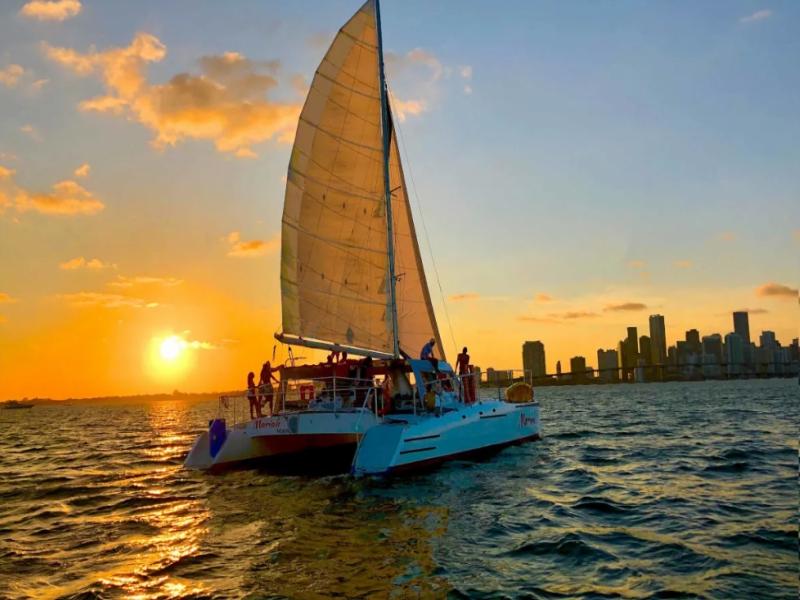 Navega por el mar caribe arriba de un Catamarán Playa del Carmen
